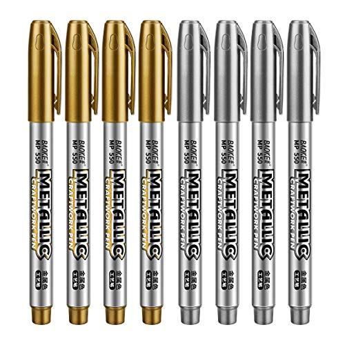 Metallic Marker penne Powcan set di 8 oro e argento Pennarelli Metallici indelebili Art set per artigianato, album per fai da te, carta, metallo, legno, ceramica, vetro