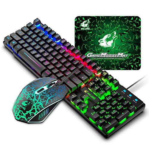 DE Layout Gaming Tastatur Maus Set, QWERTZ Layout verdrahtet 104 tasten Rainbow Hintergrundbeleuchtete Tastatur 6 Tasten 2400 DPI Maus mit LED als Beleuchtung, Kompatibel mit PC PS4 XBox - Schwarz