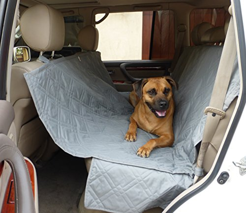 "Formosa Covers Deluxe Dog Car Seat Hammock Quilted Cover with Non-Slip Backing Best for Cars Trucks and SUVs Make Travel with Your Pet Always an Option - 56"" W x 60"" L, Grey"