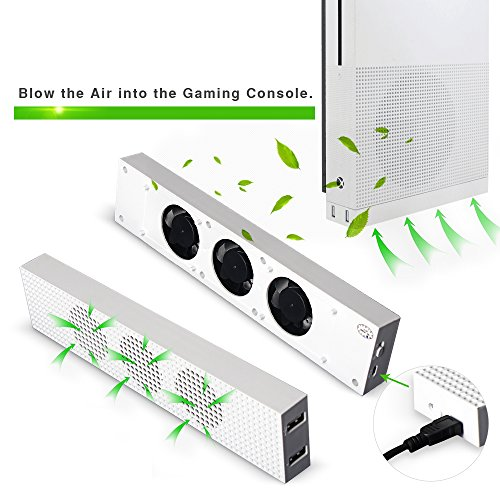DOBE XBOX ONE SLIM Cooler, 3-Fan-Supper-Turbe High Speed Cooling system , Cooling Fan [with 3 Gears High Low Off] for Microsoft XBox One Slim Console White (TYX-619S)