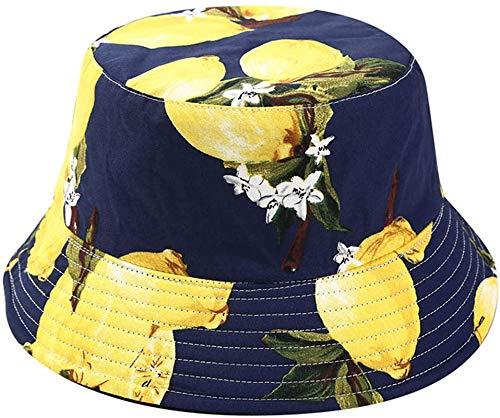 Bernice Winifred Sombrero de Cubo con Estampado de plátano Sombreros de Pescador de Frutas Gorra Plegable Reversible de Verano-Limón