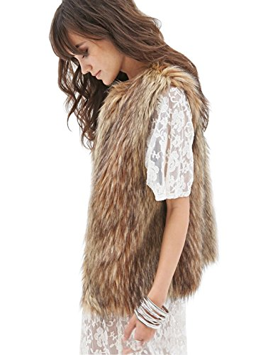 Tanming Women's Short Faux Fur Vest