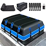Rooftop Cargo Carrier, 21 Cubic Feet Soft-Shell Waterproof Car Roof Luggage Bag for All Vehicles SUV with/Without Rails, Includes 8 Reinforced Straps + 6 Door Hooks Suitable,Storage Bag,Anti-Slip Mat