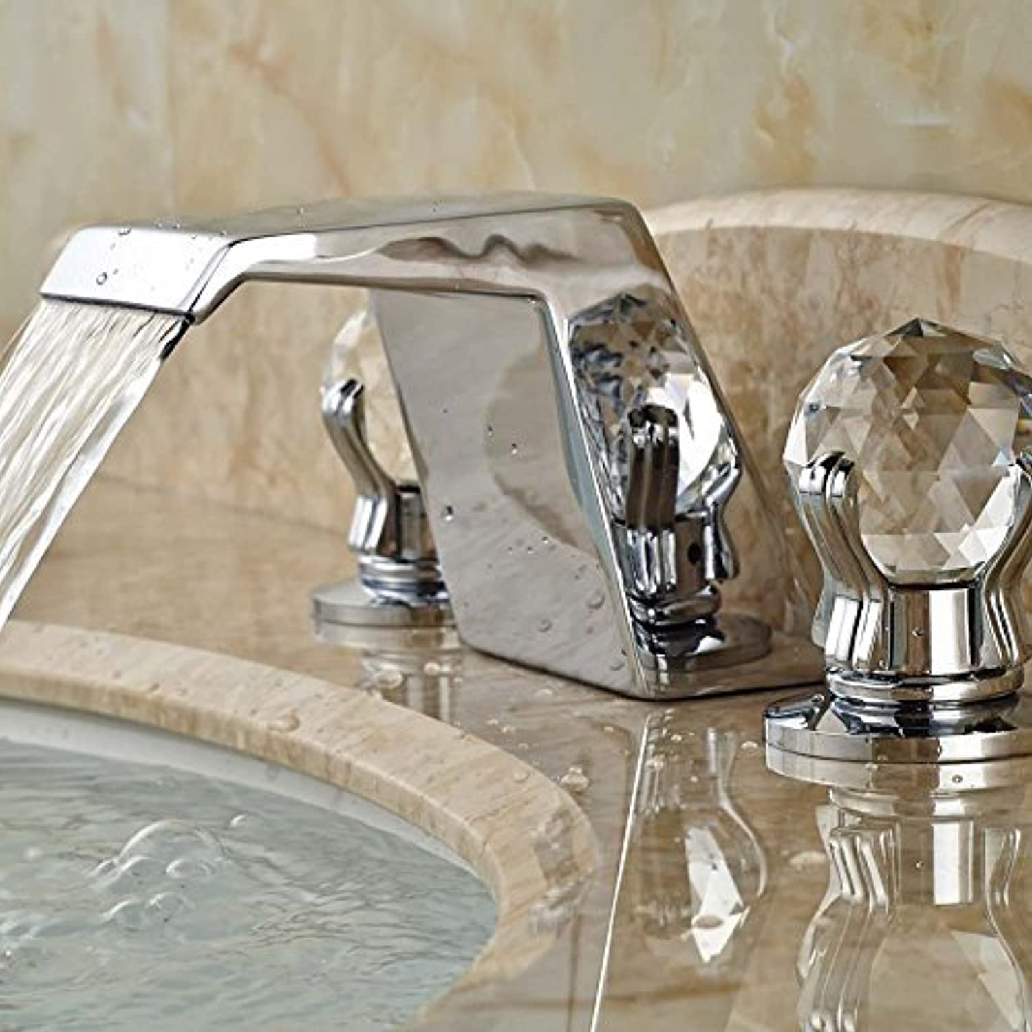 Chrome Plated Brass Mount Bridge of countertop basins taps Seven New Form Two Handles Water Connection