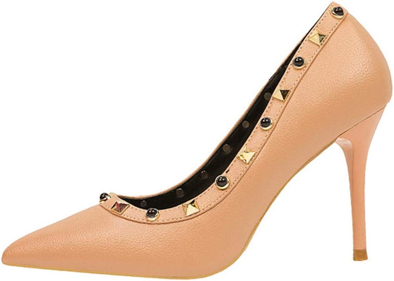 CHENSF Ladies Fashion Simple Pointed Sexy Rivets high Heels