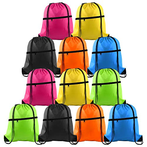 KUUQA 12Pcs Drawstring Bag Sports Gym String Backpack Bulk Cinch Bag Sackpack with Zipper for School Yoga Sport Gym Traveling