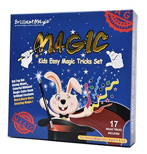 BrilliantMagic BMM011 Blue Box Easy Magic Trick Set Kids Magic Set Includes Top Hat Magic Cape Rising Wand and More Magic Props