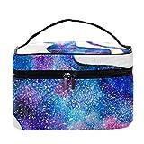 TIZORAX Starry Cat and Butterfly Cosmetic Bag Travel Toiletry Case Caja de Organizador de Maquillaje Grande