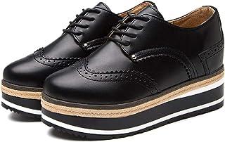 1268aac4d80cc8 Femmes Plate-Forme Oxfords Chaussures Talon compensé en Cuir Vintage  Chaussures à Lacets Casual Low