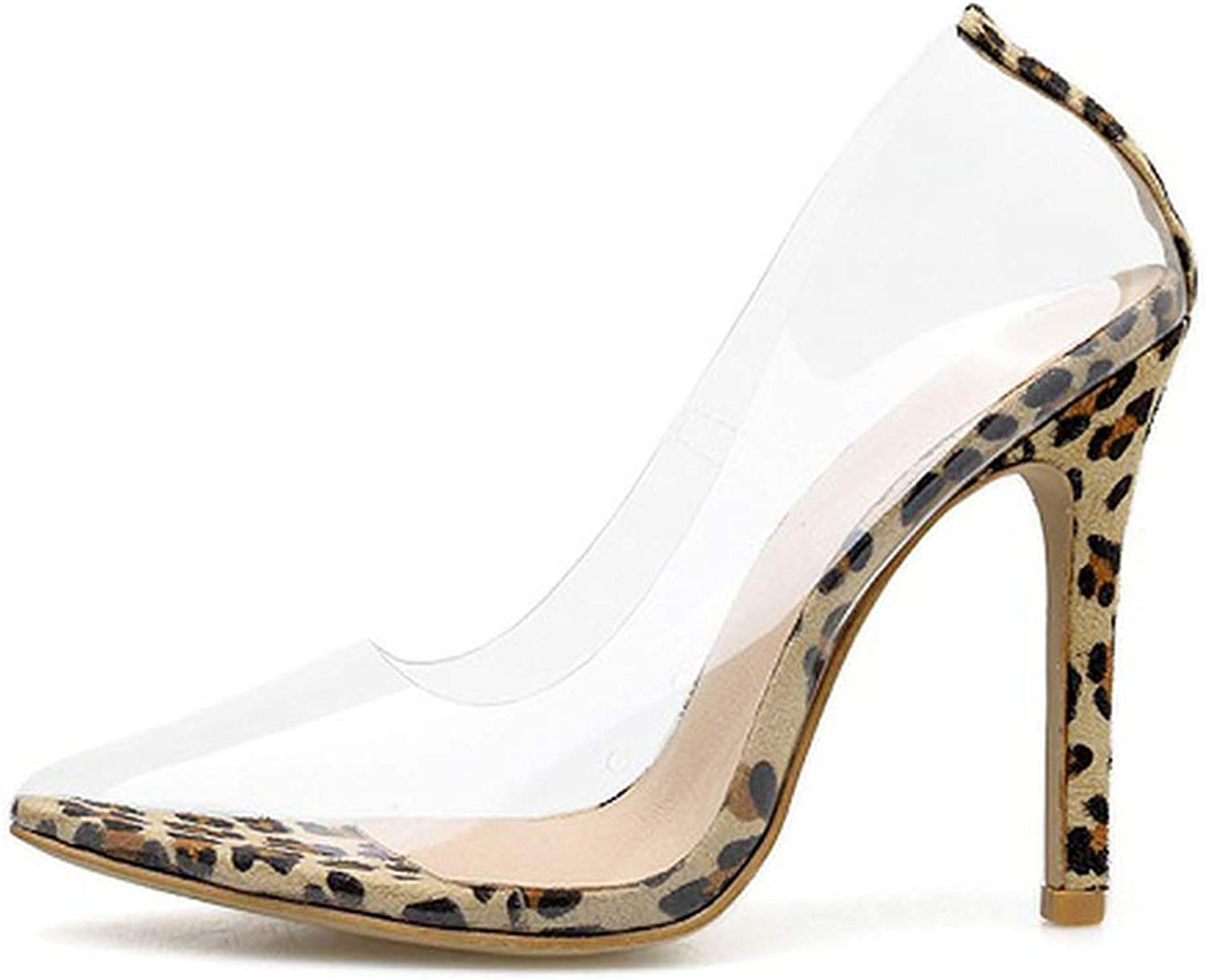 Axd-Home Clear Transparent Pumps Sandals Perspex Heel Stilettos High Heels Point Toes shoes