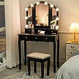 Tiptiper Coiffeuse Moderne, Ensemble de Coiffeuse avec Miroir à Tri-Plier & 10 Ampoules L...