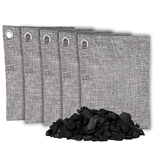 OLIVIA & AIDEN Bamboo Charcoal Air Purifying Bags - Natural Air Freshener Large 200g - 5 Pack | Eco Friendly Odor Eliminator and Moisture Absorber | Car Deodorizer - Closet and Room Air Freshener