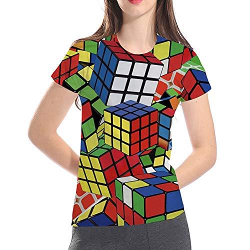 BGBG Camiseta 3DT Camiseta básica/exagerada de Daily Club para Mujer - Geométrica / 3D / Gráfica Cubo de Rubik, Estampado arcoíris
