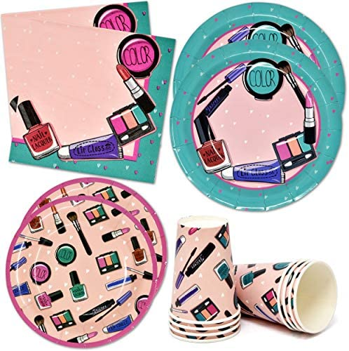 Spa Salon Makeover Party Supplies Tableware Set 24 9 Paper Plates 24 7 Plate 24 9 Oz Cups 50 product image