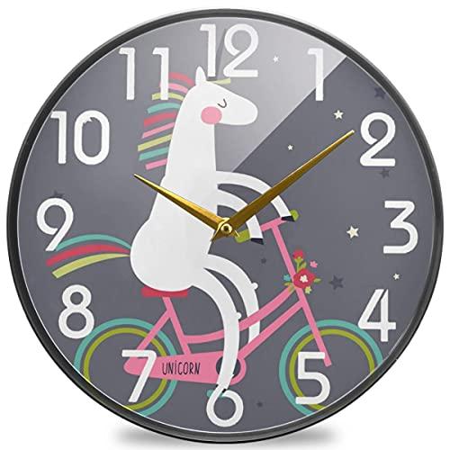 Lindo Reloj de Pared Redondo con Estrellas de Bicicleta, silencioso Reloj de Escritorio silencioso de Cuarzo con Pilas para el hogar, la Oficina y la Escuela