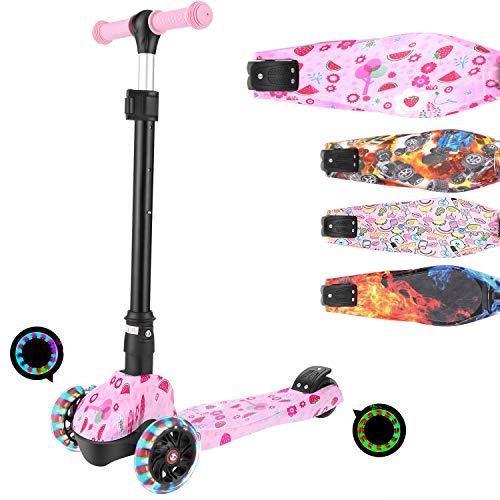 WeSkate Light Up 3 Räder Kinder Roller für Mädchen und Jungen Faltbarer höhenverstellbarer Roller, maximale Belastung 50 kg