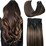 Clip In Human Hair Extensions Thicken Double Weft 10A Brazilian Hair 120g 7pcs Natural Black to Chestnut Brown Highlight Black Full Head Silky Straight 100% Human Hair Clip In Extensions 16 Inch