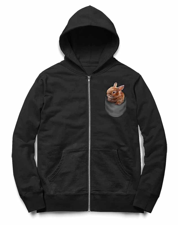Fox Republic ポケット オレンジ 子ウサギ ブラック キッズ パーカー シッパー スウェット トレーナー 130cm