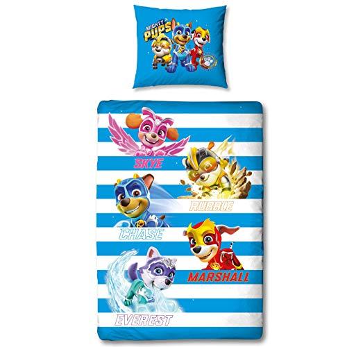Character World Paw Patrol Mighty Pups Bettwäsche 135x200 · Kinderbettwäsche für Mädchen und Jungen · 1 Kissenbezug 80x80 + 1 Bettbezug 135x200 cm · 100% Baumwolle