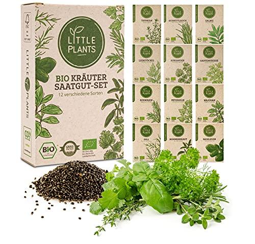 BIO Kräuter Samen Set [100% Natürlich, Extra viel Saatgut] 12 Sorten Küchenkräuter + Aussaatkalender | Nachhaltiges Kräutersamen Anzuchtset für Kräutergarten Balkon und Küche von Little Plants