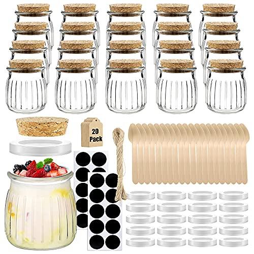Folinstall 20 Pcs 7 oz Small Spices Glass Jars with Lids,Yogurt Jar,Favors Jar for Candle Making,Honey,Bath Salts,Party Wedding,Baby Shower