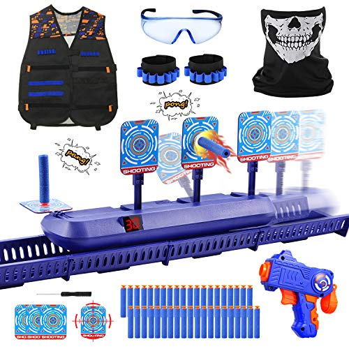 Fibevon Running Shooting Targets for Nerf Guns Practice, Electronic Score Target Kit Toy w/Blaster, Vest, Glasses, Bandanas, Wristbands and Foam Darts, Ideal Gift Toys for Kids, Boys, Girls Aged 6-13