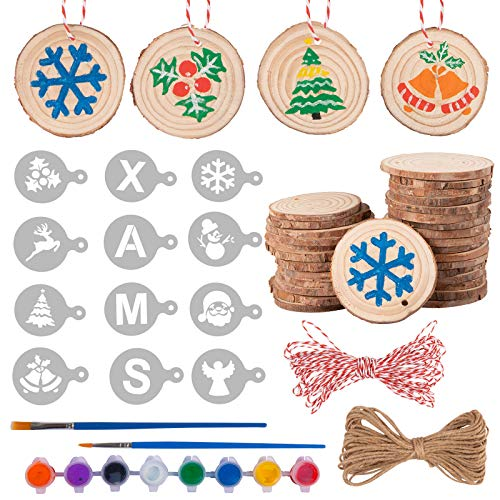 Whaline 54Pcs Christmas Wood Slice Ornament Set Includes 30Pcs Unfinished Wood Slices 12Pcs Christams Stencil 8Pcs Acrylic Paints 2 Brush Jute Twine Cotton Rope for Xmas DIY Decoration, 2.4-2.8 Inch