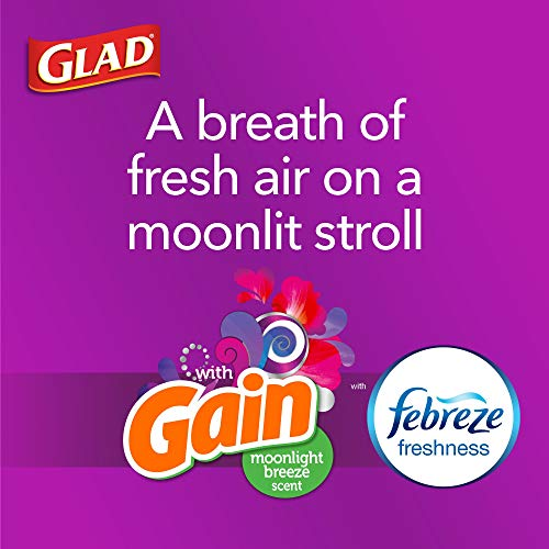 Glad Protection Series ForceFlex Tall Kitchen Drawstring Trash Bags – 13 Gallon White Trash Bag, Gain Moonlight Breeze Scent with Febreze Freshness – (Package May Vary) 110 Count