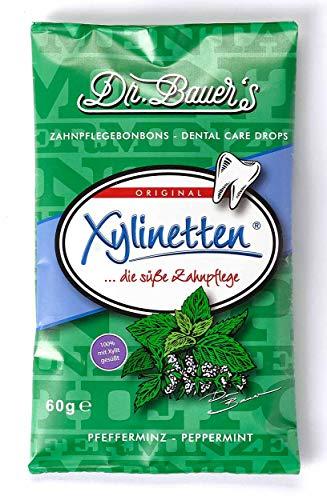 Dr. Bauer´s Xylinetten Xylitol Zahnpflege-Bonbons Pfefferminze 60g ,3er Pack (3x 60g)