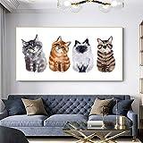 ganlanshu Pintura sin Marco Arte Lienzo Dibujo Gatos y Perros Divertidos Cuadros Animales Lindos decoración Moderna del hogar Arte de la Pared ZGQ6007 50X100cm