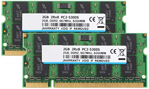 BPX 4 GB (2 x 2 GB) 2RX8 PC2-5300S PC2-5300 DDR2 PC2-5400 CL5 667 200 Pin 1.8v SODIMM portátil RAM no ECC sin búfer del módulo de Memoria portátil Compatible con Intel AMD System-Verde