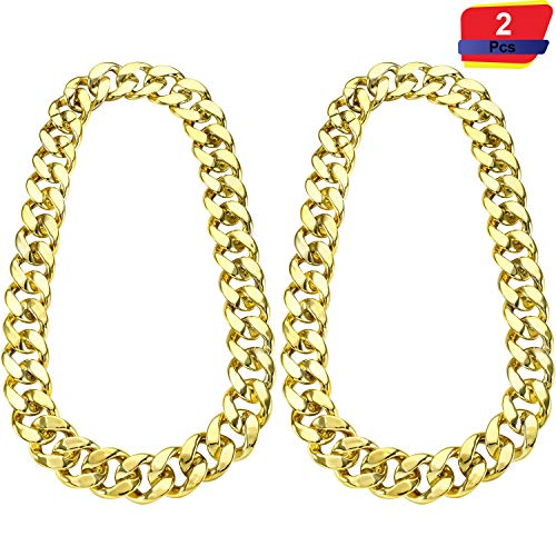 2 Pieces Hip Hop Necklace 32 Inch Chunky Chain 80's 90's Big Links Necklace for Costume Jewelry