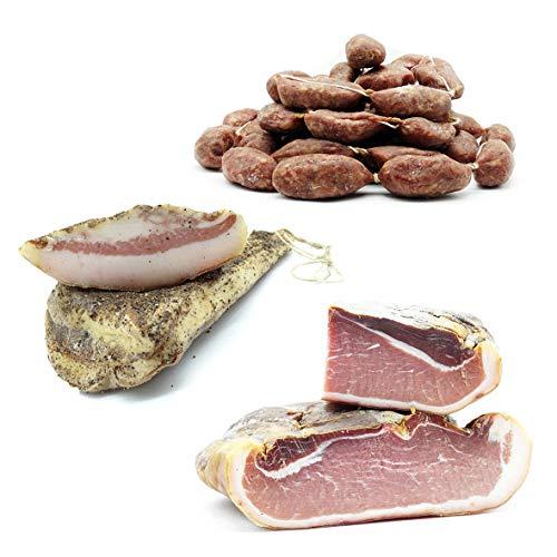Mix Prodotti Artigianali - Prosciutto Crudo di Montagna 1.5kg + Salsiccette Stagionate 'Mignon' 500g + Guanciale al Pepe Stagionato 1kg