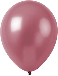 Topenca Party Supplies, 12 Inches Solid Metallic Latex Balloons, 50 Pack, Light Burgundy
