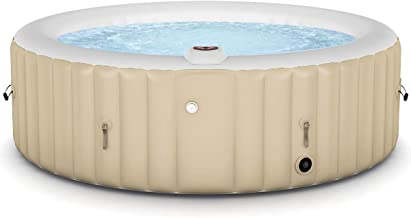 Goplus 4-6 Person Outdoor Spa Inflatable Hot Tub for Portable Jets Bubble Massage Relaxing with Accessories Set (6-Person, White)