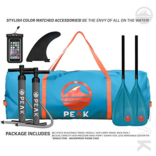 Peak 12' Titan Inflatable Stand Up Paddle Board Package | 8' Thick Multi Person iSUP and Accessory Bundle | 2 Adjustable Paddles & 2 Pumps | 4 Quad Fins & 1 Center Fin | 500 lb Capacity | Royal Blue