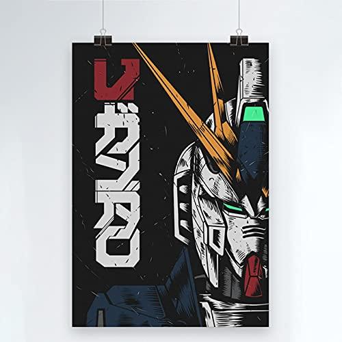 Yiwuyishi Impresión de Lienzo Gundam Warrior Poster Decoración del hogar Mecha Pintura Imagen de Arte de Pared Papel de Anime japonés para Sala de Estar 50x70cm P-1460