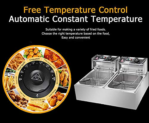 12.7QT/12L Deep Fryer with 2 Baskets, 5000W MAX Stainless Steel Double Cylinder Commercial Electric Countertop Fryer for…