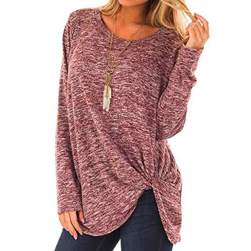 Chejarity Camiseta básica de manga larga para mujer, de un solo color, para otoño e invierno, elegante, para correr Rosa. XL