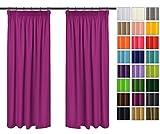 Rollmayer Vorhänge mit Bleistift Kollektion Vivid (Fuchsie 43, 135x175 cm - BxH) Blickdicht Uni einfarbig Gardinen Schal für Schlafzimmer Kinderzimmer Wohnzimmer
