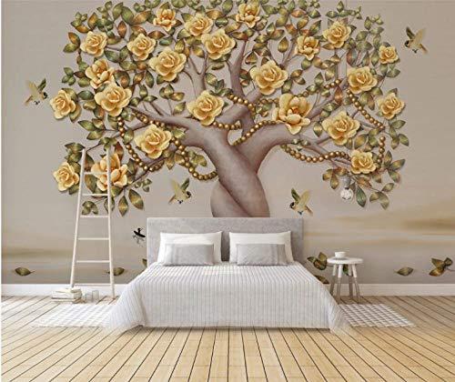 Fotobehang, muurschildering bloemen, vogel, parel, boom, sticker, slaapkamer, woonkamer, tv-achtergrond, interieur 350cm x 256cm