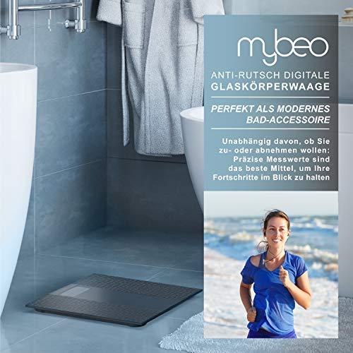 MyBeo - Bilancia pesapersone digitale dal design slim, con rivestimento antiscivolo, ampio display LCD, portata massima 180 kg, risoluzione di misurazione 0,1 kg, accensione e spegnimento automatico