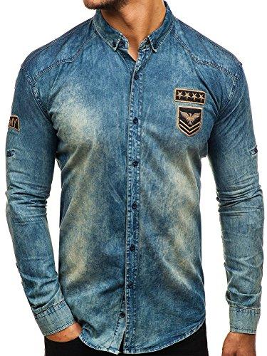 BOLF Hombre Camisa Vaquera de Manga Larga Denim Slim Fit Madmext 0992 Azul Oscuro-Gris M [2B2]