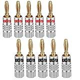RUNCCI-YUN 10pcs Oro de 24 Quilates Enchufe Banana,Clavija Banana Altavoces,4mm, Conector de Audio, para Altavoces, Cable estéreo, Cine en casa (Rojo & Negro)