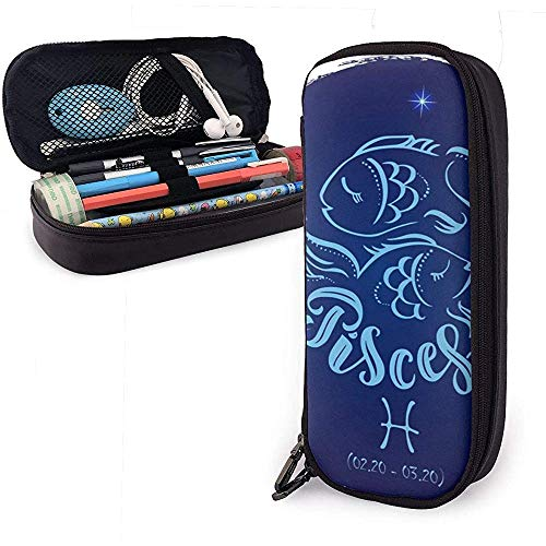 Federmäppchen Round Zodiac Sign Pisces Cute Pen Pencil Case Leather Pouch Bag Pencil Case with Double Zipper Holder Box for Girls Boys Adults
