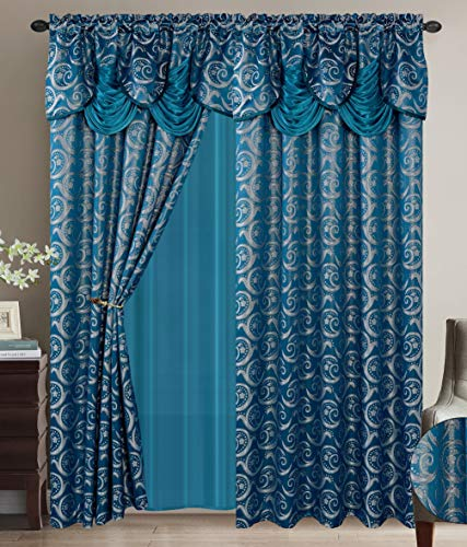 Luxury Home Collection Jacquard Window 2 Panel Curtain Set with Attached Valances and Backing with 2 Tassel Tie Backs -Window Curtains for Bedroom, Living Room, or Dining Room (Turquoise)