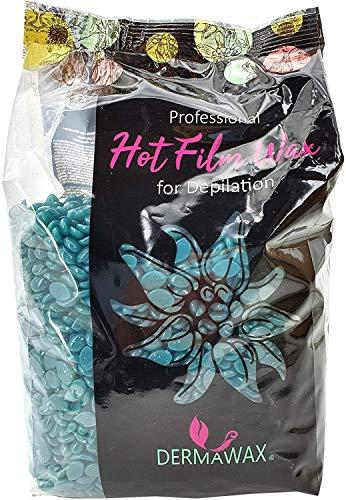 1 kg Dermawax Azulen Film Wachs-Heisswachs Waxing Perlen Wachsperlen zur professionellen Ganzkörper Haarentfernung Enthaarung Brazilian Waxing- Anwendung ohne Wachstreifen