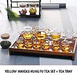 Mesa Kung Fu Chino Juego de té casero Simple Tetera, Bandeja de té de Madera sólida, Servicio de té y una Bandeja de té, Kungfu Juego de té, Juego de té Copa (Color : Yellow Handle)