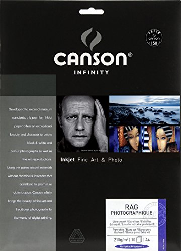 Pack A4, 10 Hojas, Canson Infinity Rag Photographique, 100% Algodón, 210g