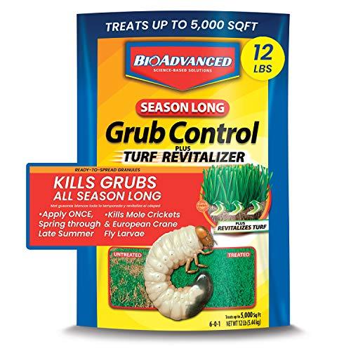 BIOADVANCED 700715M Season-Long Grub Control Plus Turf Revitalizer for Lawns, 12-Pounds, Granules